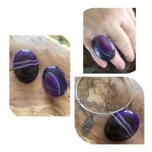 Agate charm for interchangeable jewelry